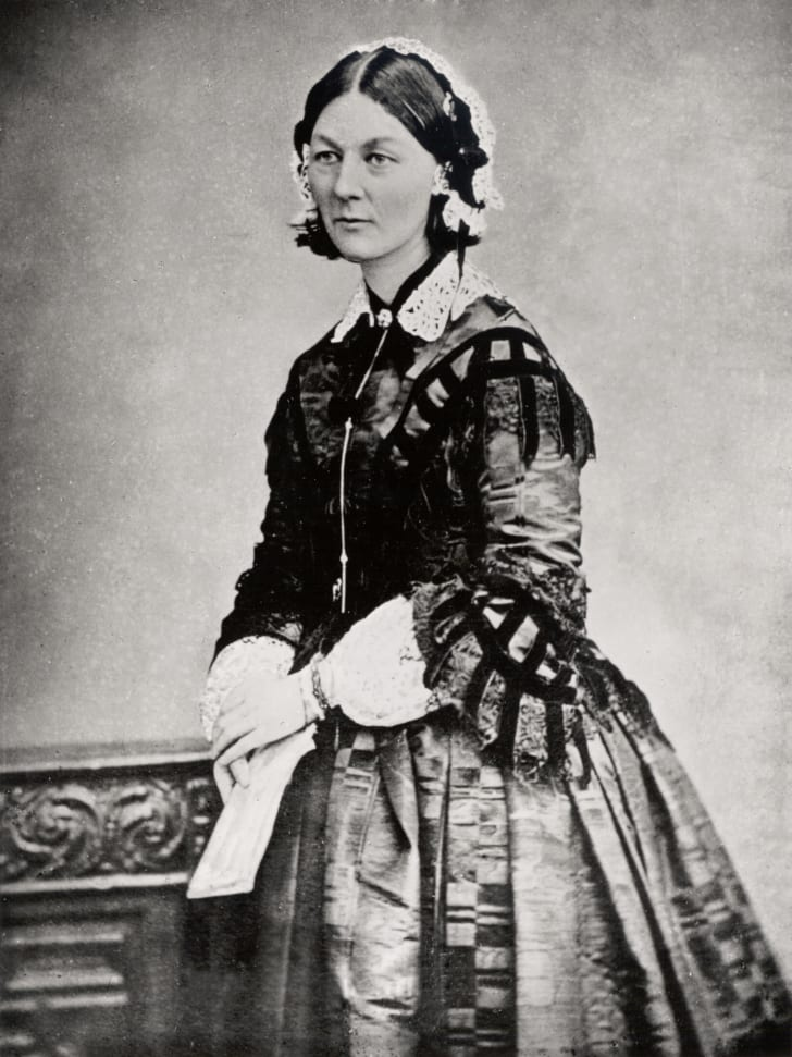 A black-and-white photograph of Florence Nightingale
