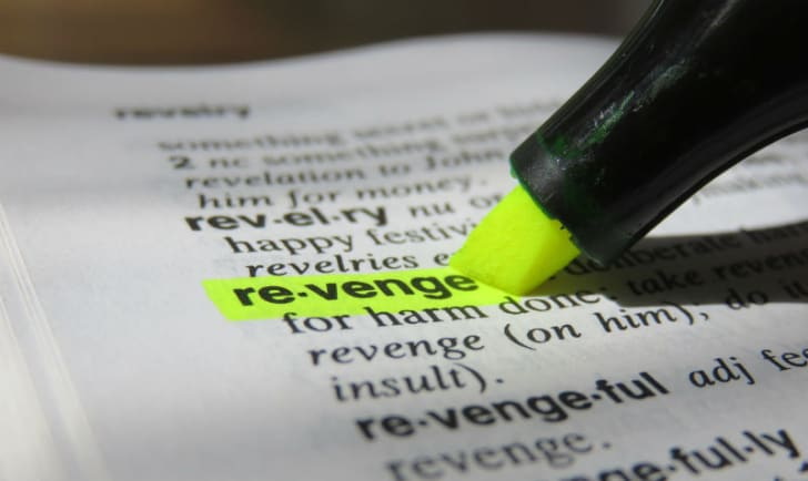 A highlighter is run over the word 'revenge'