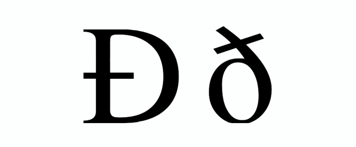 The upper and lowercase versions of the letter eth.