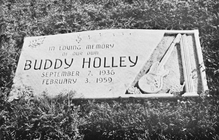 View of American rock and roll musician Buddy Holly's gravestone in Lubbock, Texas, 1975