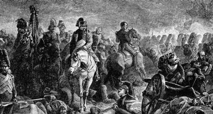 An illustration depicts Napoleon at the Battle of Waterloo