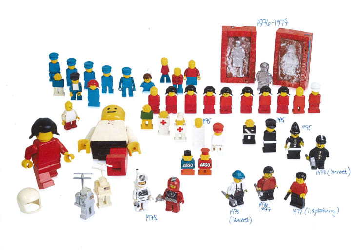 Rows of minifigures from LEGO history