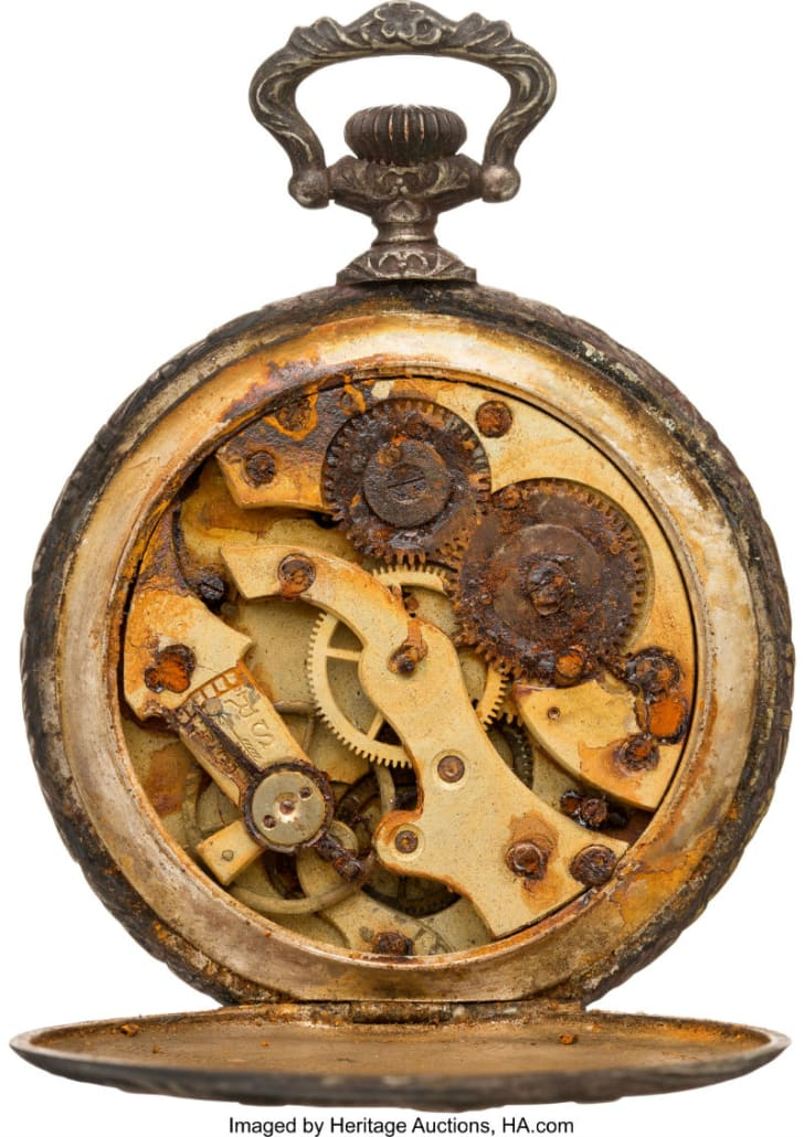 The inside of the timepiece recovered from the 'Titanic' and put up for auction