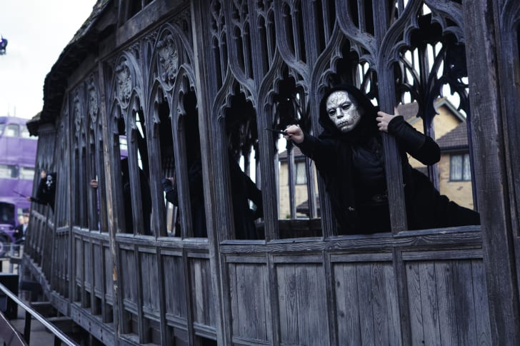 Actors in death eater costumes