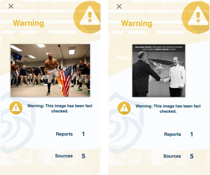 Two side-by-side images of SurfSafe's warning alert