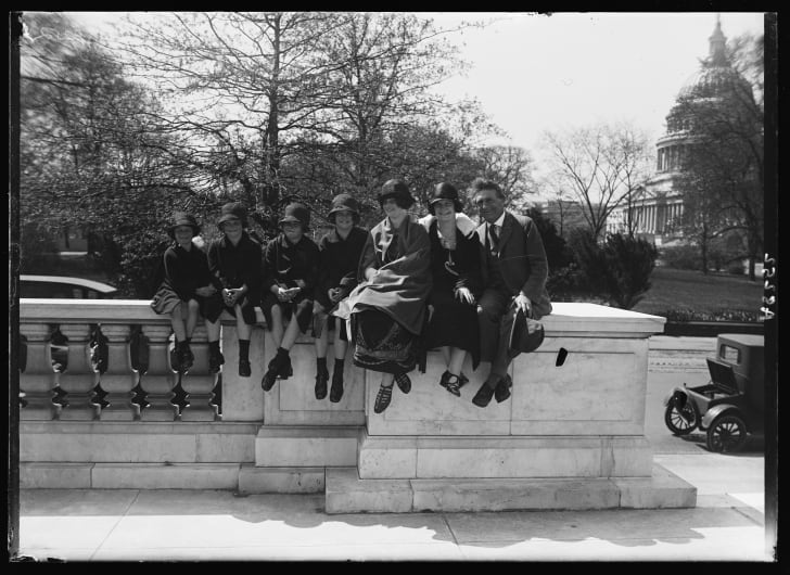 Bernarr MacFadden and family members at the Capitol, where they were demonstrating how to keep fit to legislators.
