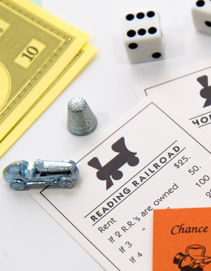 Reading Railroad Card from Monopoly Board Game