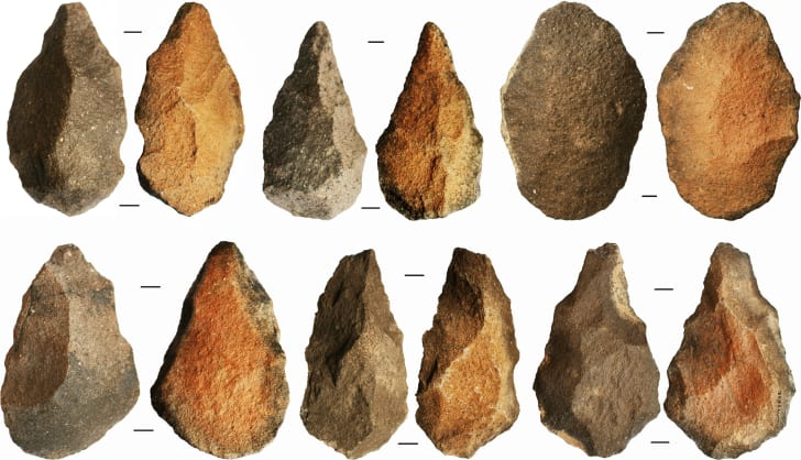 A row of stone tools excavated from Saffaqah
