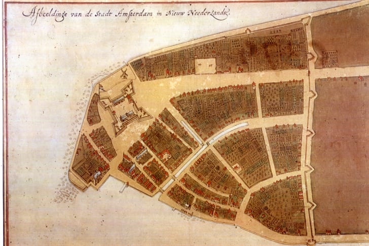 A 17th century map of Lower Manhattan