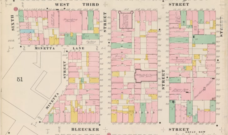 A 19th century insurance map of New York City's Greenwich Village