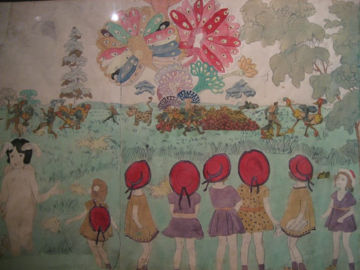 A painting of the Vivian Girls by Henry Darger.
