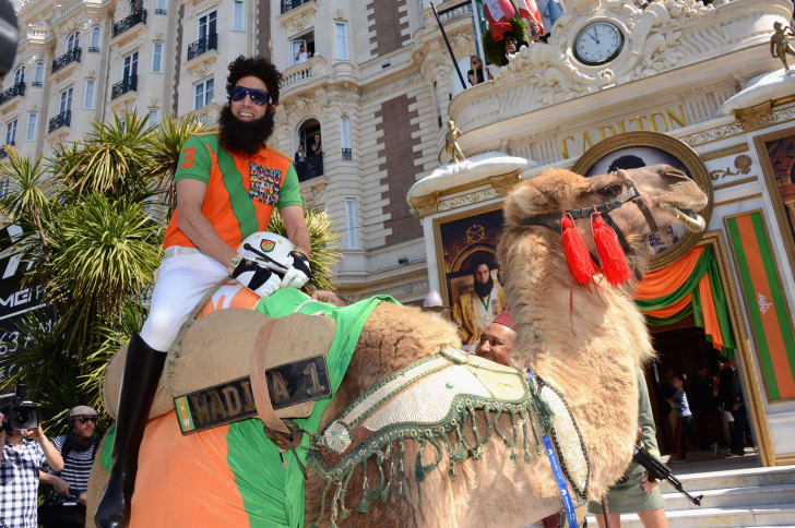 Sacha Baron Cohen arrives at the Carlton Hotel as The Dictator during the 65th Annual Cannes Film Festival in 2012.