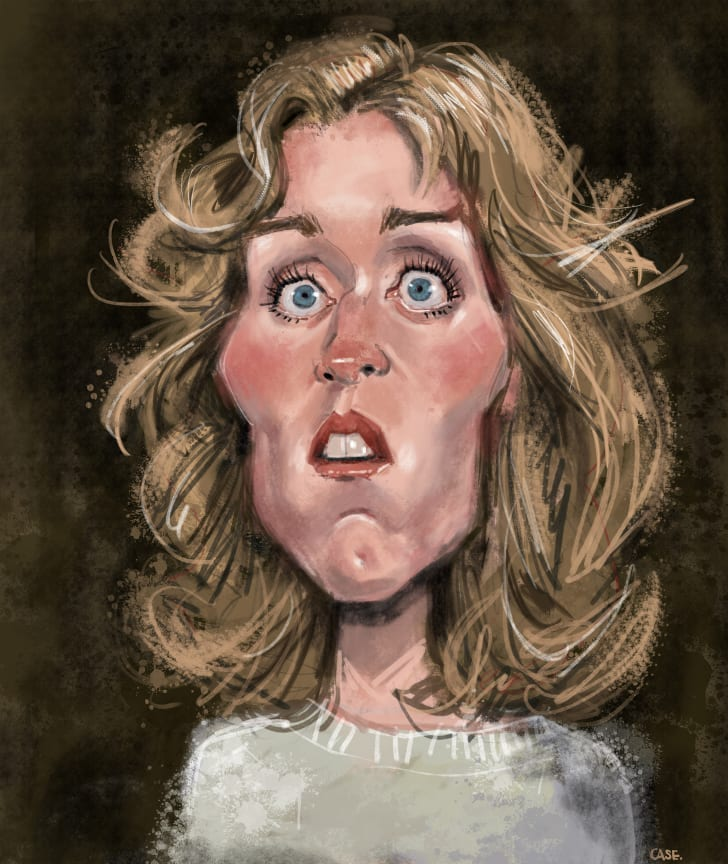 A caricature of Abby from Blood Simple