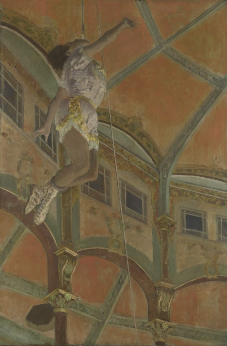 painting of a female acrobat ascending a rope by clutching it with her teeth