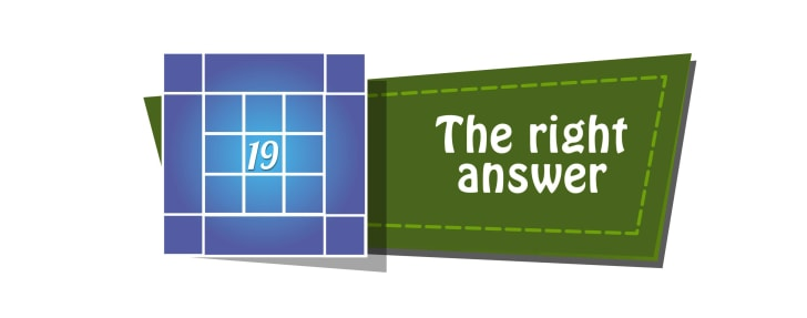 A banner reads 'The right answer' next to a version of the puzzle with a '19' in the center