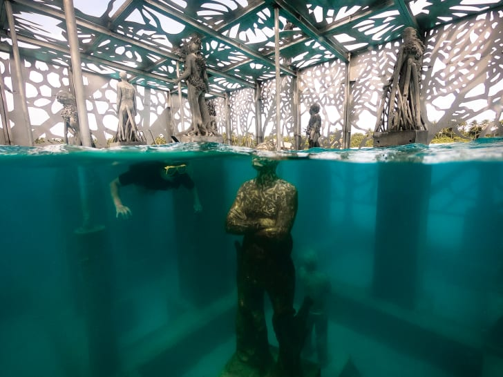 A snorkeler looks at a partially submerged sculpture