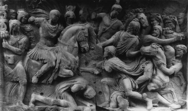 A Roman cavalry charge, a relief from the Arch of Constantine in Rome, circa 315 CE