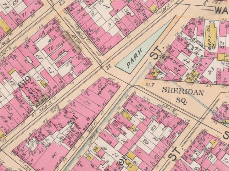 A 19th century map of properties in the West Village