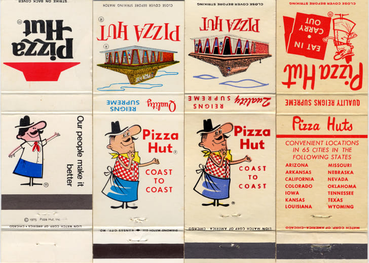 image of vintage Pizza Hut restaurants featuring mascot Pizza Pete