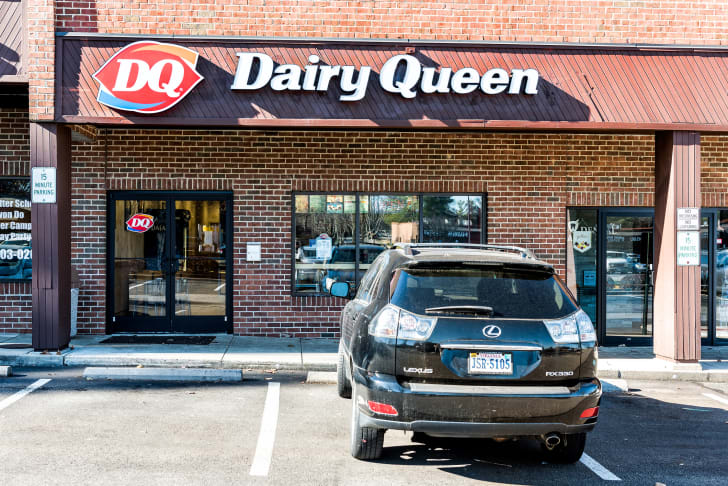 image of the parking lot of a Dairy Queen restaurant