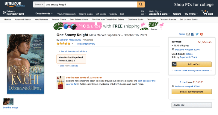 An Amazon product listing offers a mass-market paperback book for $1558.33.
