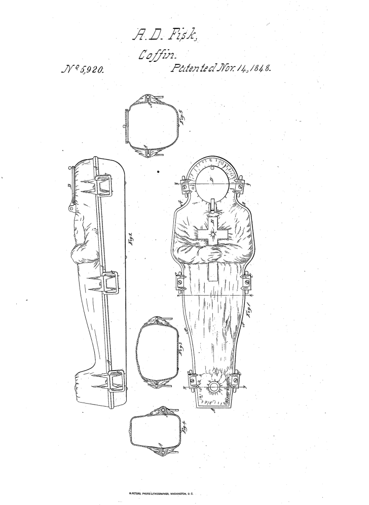 A patent drawing for the Fisk cast iron coffin
