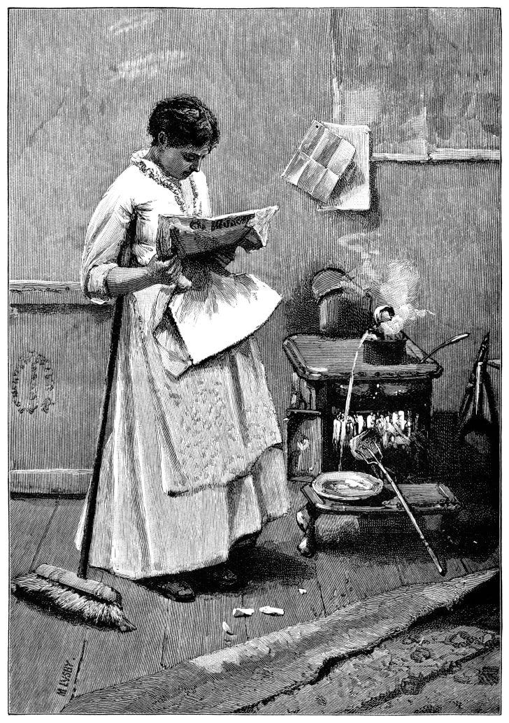 A Victorian woman reading a newspaper in the kitchen