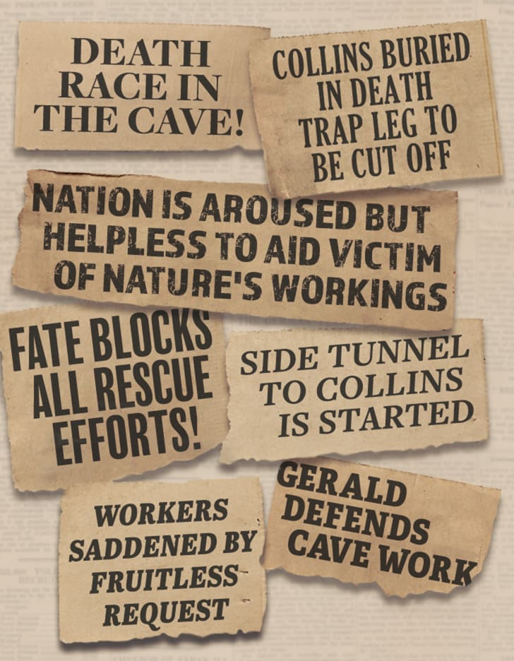 An illustration of newspaper headlines about the Floyd Collins rescue.