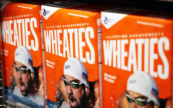 Three Wheaties boxes featuring Michael Phelps