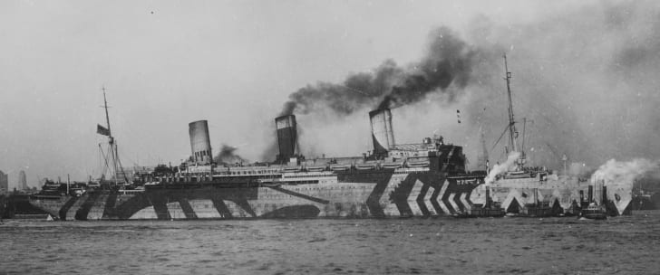 U.S.S. Leviathan in dazzle camouflage, WWI