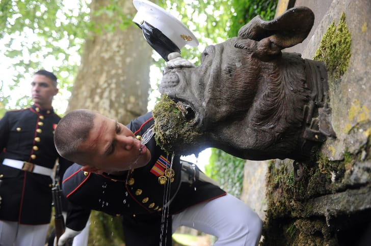 A U.S. Marine drinking from devil dog fountain