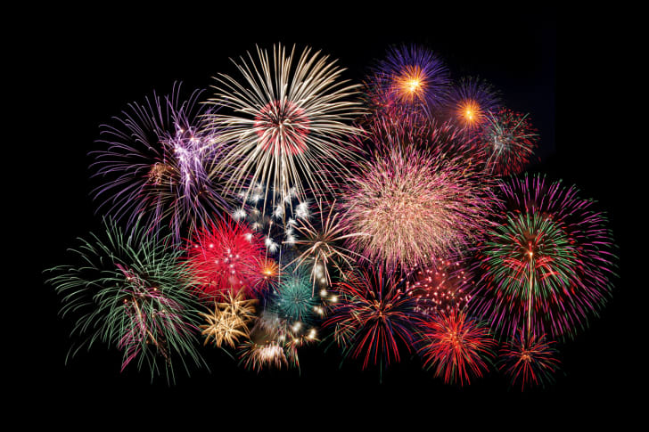 An assortment of colorful fireworks bursting in the sky