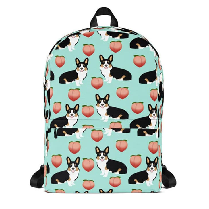 Corgi butt peach emoji backpack