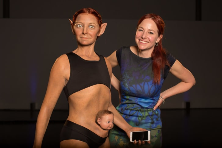 The sculpture of Alice 2.0, left, with Alice Roberts, right