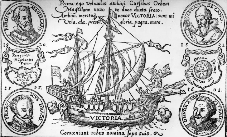 An engraving of the Victoria, the first ship to circumnavigate the globe