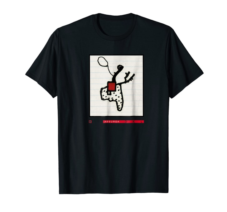 T-shirt with an abstract drawing of what is by David Lynch's account, at least, a cowboy
