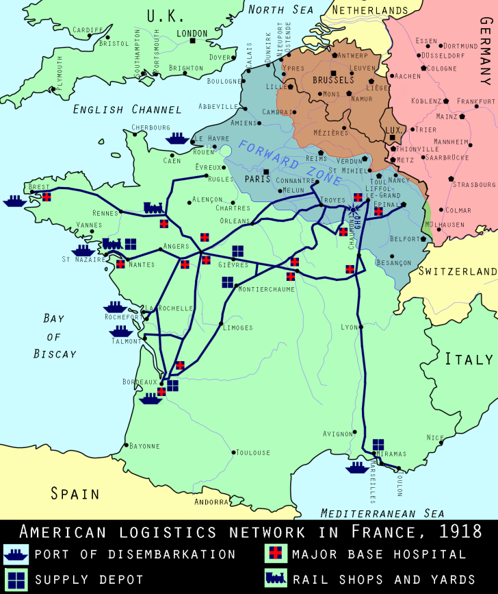 U.S. supply routes, spring 1918, World War I