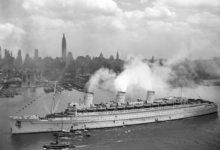 The Queen Mary ocean liner in battleship gray
