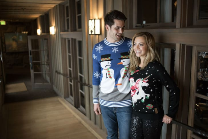 Models sport holiday sweaters from Tipsy Elves