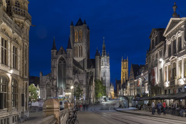 The city center of Ghent in Belgium, showing St Bavo's Cathedral to the right