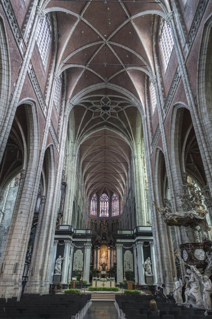 The interior of St Bavo's Cathedral in Ghent, Belgium