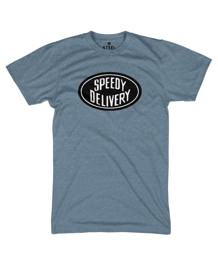 """A tee with the words """"speedy delivery"""" on it"""