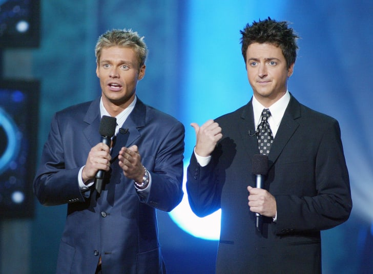Ryan Seacrest and Brian Dunkleman at FOX-TV's 'American Idol' finale at the Kodak Theatre in Hollywood on September 4, 2002