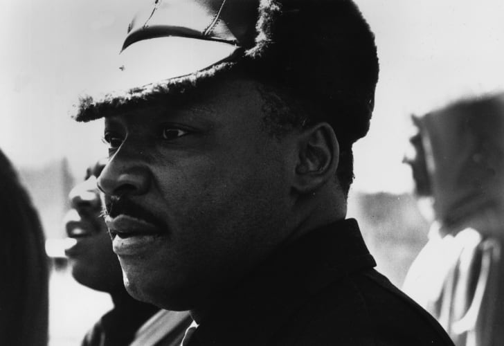 Dr Martin Luther King at the Alabama civil rights march which he led on March 25, 1965