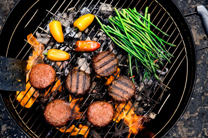 Vegetarian burgers on the grill
