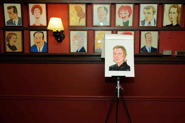 Christopher Walken's caricature in the foreground at Sardi's following its unveiling in 2010.