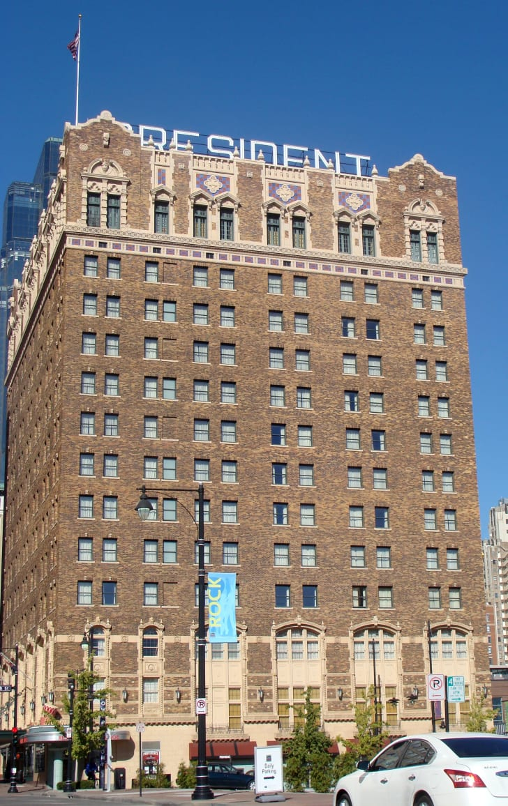 Shot of the exterior of the President Hotel in Kansas City, Missouri