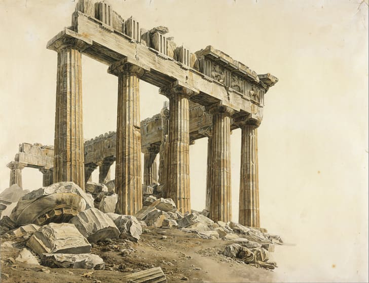 The South-east Corner of the Parthenon, Athens by Giovanni Battista Lusieri