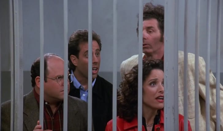 "Julia Louis-Dreyfus, Jerry Seinfeld, Jason Alexander, and Michael Richards in Seinfeld's ""The Finale"""
