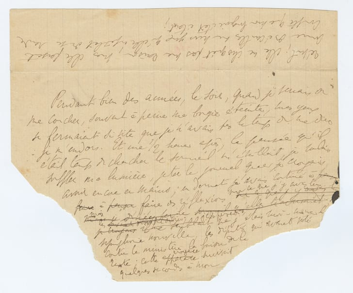A ripped page from a Proust manuscript